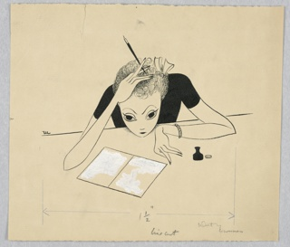 Horizontal rectangle. Young woman facing front; her chin on the desk, her elbows out, a pen in one hand. A letter and ink bottle on the table.