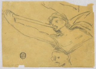 Winged figure blowing a trumpet, which he supports with his extended right arm. The upper part of the body is shown. Rough sketch for a head at the bottom.