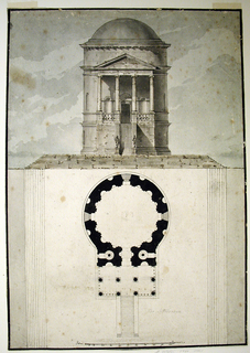 Elevation and plan, one above the other, of a Classical temple.  The building is located on a platform and reached via steps (nine in total).  A narrow, steep flight of stairs leads to the door. There are two statues located at the foot of the stairs.  Portico with two rows of four Ionic columns and a triangular pediment.  Above, a high drum and a dome. The plan portion of the drawing shows the temple on a large platform.