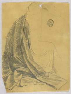 Kneeling or seated female figure indicated, facing right. Possibly cloak of Virgin Mary.
