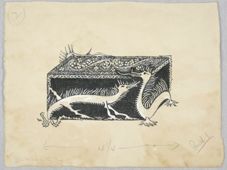 Horizontal rectangle. Black oblong box with a white design; dragons on the sides. Small geometrical waves and curves and flowers, on the top.