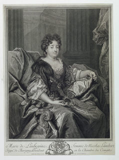 """Almost full length portrait of the young woman seated in an armchair. In three-quarter view to right. Dress has a décolleté neckline surrounded by lac. A part of the fur from her coat is over her right shoulder. She holds a dog in her lap. In background, columns, and a wall with pilasters. Inscribed, lower left: """"N. Largilliere pinxit""""; lower right: """"P. Drevet Sculpt.""""; lower margin: """"Marie de Laubespine, femme de Nicolas Lambert; / Seign^r. de Thorigny, President en la Chambre des Comptes. / A Paris chez P. Drevet rüe de Foin devant les Mathurins."""""""