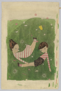 Two children—a girl and a boy—wearing striped pink and white clothing are laying down on grass with eyes close to shutting.