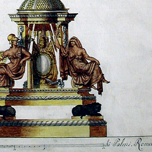 """A design for a single candelabrum.  At the bottom, lions, crouching on a base, support a pavilion, on the volutes of which are seated two female figures: """"Strength,"""" at left and """"Faith,"""" at right.  At the center stands a Papal escutcheon.  On top of the dome stands a capital, supporting a sphere.  The sphere is surrounded  by a band with St. John the Evangelist, St. Paul, St. Peter, another saint with a book, and St. Mark, and is topped by clouds with the Dove and cherubim.  From the clouds rises a balustrade, in a circle of winged female figures.  The balustrade supports the bowl, form which festoons are suspended, and the socket.   Under the base line is an inscription and scale."""