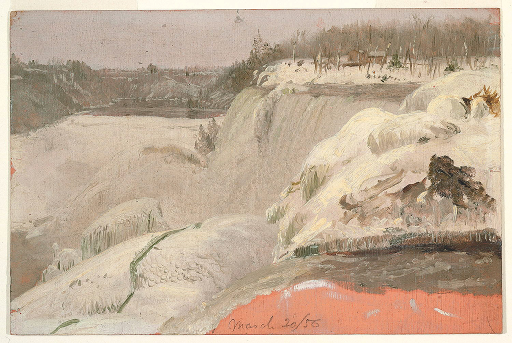 Drawing, Niagara Falls in the Snow, seen from Goat Island