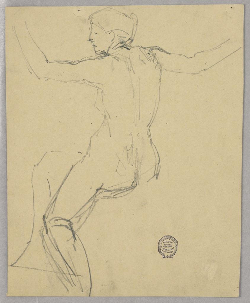 Nude female figure shown seated from behind, with parts of the right leg visible. Verso: horizontal composition showing a stained glass widnow in a Gothic style; an angel stands in either half.