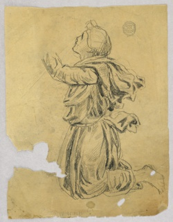 Kneeling woman shown in profile, facing left.  She is raising her left arm; the hand is not shown.