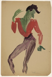 Vertical rectangle. Male dancer, in a red shirt and violet tights, with green skin and purple hair, over pencil lines. His right hand is above his shoulder with his head turned away, to the right; his hips bent to the right, one knee to the left.