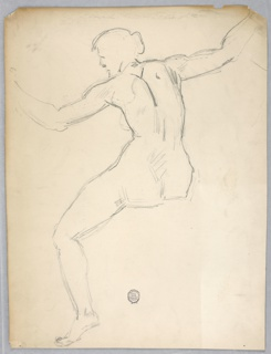 Nude female figure shown from the rear seated without an indication of the right leg. The left hand is intended somewhat lower than the right one.