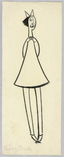 Vertical rectangle. Elongated little girl, facing front, in white dress, patent leather shoes, and a white hair ribbon. Her hands meet together at her collarbone. She has short black hair, a long nose, and one eye looking to the left. She stands pigeon-toed.