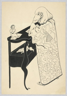 Blonde figure seen from behind wearing a kimono with a peacock on the left shoulder and standing at a table shelf with a page of arithmetic and two dolls.