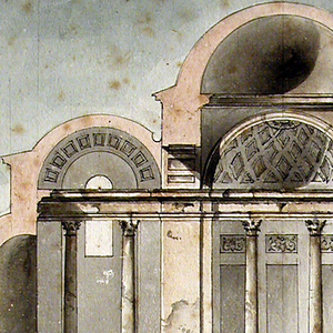 Temple in section and plan with porch and elliptical domed narthex behind which is nave with niches in walls and ending in apse.  On either side of porch are vertical rectangular wings/aisles; each with apses on three sides and four columns supporting entablature