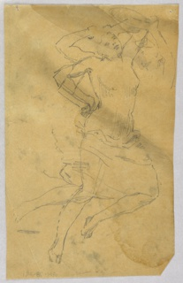 Female figure with drapery over her thighs, facing right. Limbs drawn in alternate positions. Her left arm over her head; the right arm over her head, or on her hip. Right leg shown straight, or bent at knee.