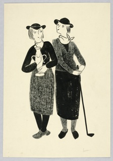 Women facing front, in dark stockings, black hats, golf clothes. Taller one, right, with a club; the other holding a large trophy.