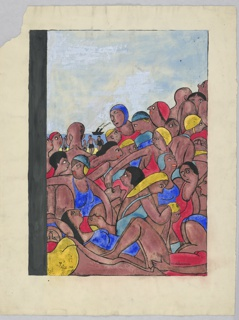 A throng of tan men and women wearing blue, yellow and red bathing wear, all vying for a spot on the beach, which is not visible; in the background, a black ship on the water.