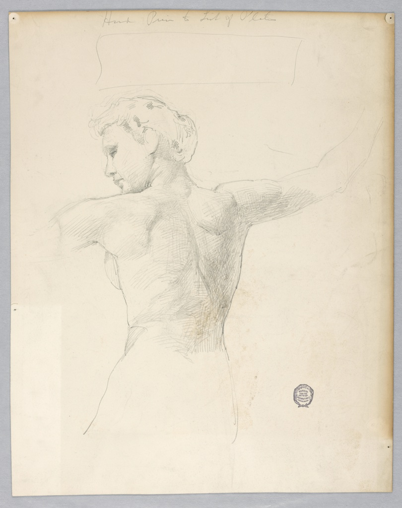 Probably after the model. Nude female torso from behind, showing back and parts of arms.  The arms are raised, and the head is turned to the left.