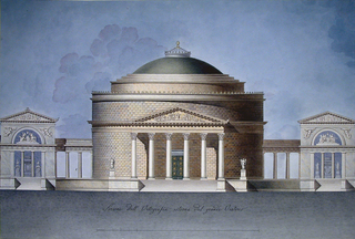 Design for a round building.  A circular, domed structure without other windows than a skylight at the center of the dome.  The building has a Corinthian portico.  It is flanked on either side by short pergolas and sepulchral monuments; cloudy sky is given as the background. Scale: in pen and black ink, lower margin