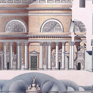 Section of a round building. A central, domed hall is surrounded by corridors.  Porticos are at left and at right.  From the latter, a staircase leads down to subterranean rooms.  A big sepulchral monument stands in the center.  Other monuments are in the main hall and the corridors.  Funerary urns stand in the niches in the basement.