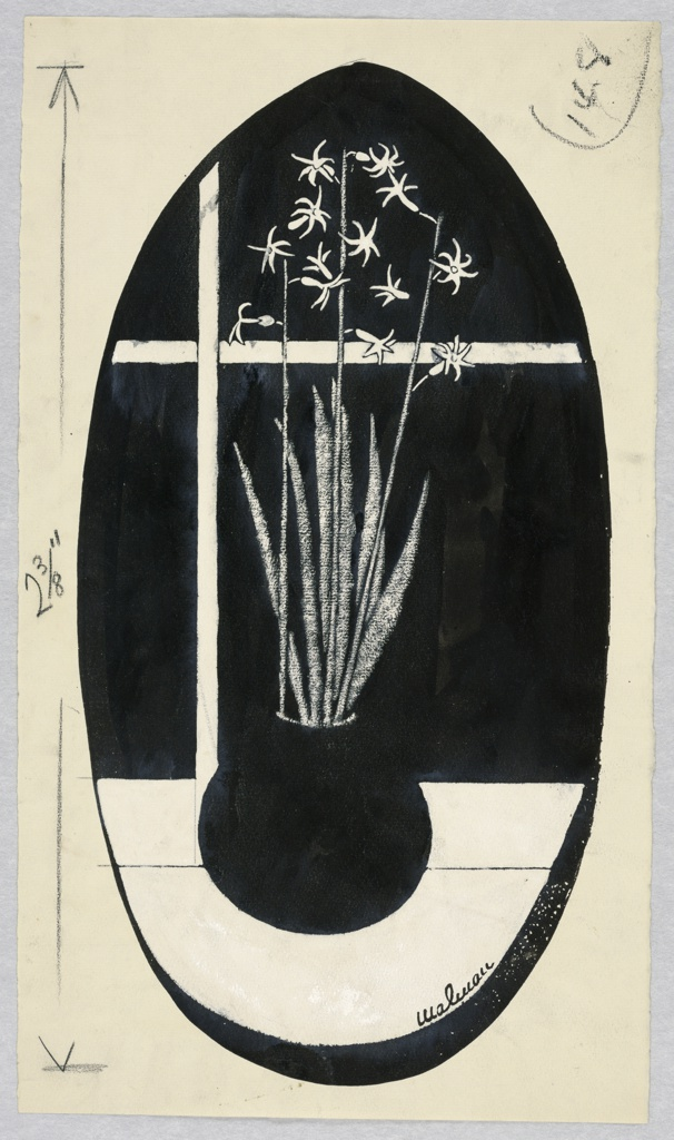 Round black vase with white narcissi on white table, in black vertical oval.