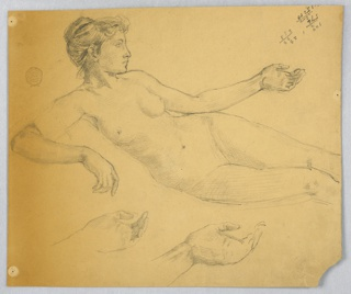 "Three-quarters of the woman's figure is shown and two studies for the left hand. An account, top right. Verso: the left part of the outlined lunette with a very rough sketch of a lying woman shown from the rear; inscribed ""Equitable Board Room / Scale 1' - 1' """