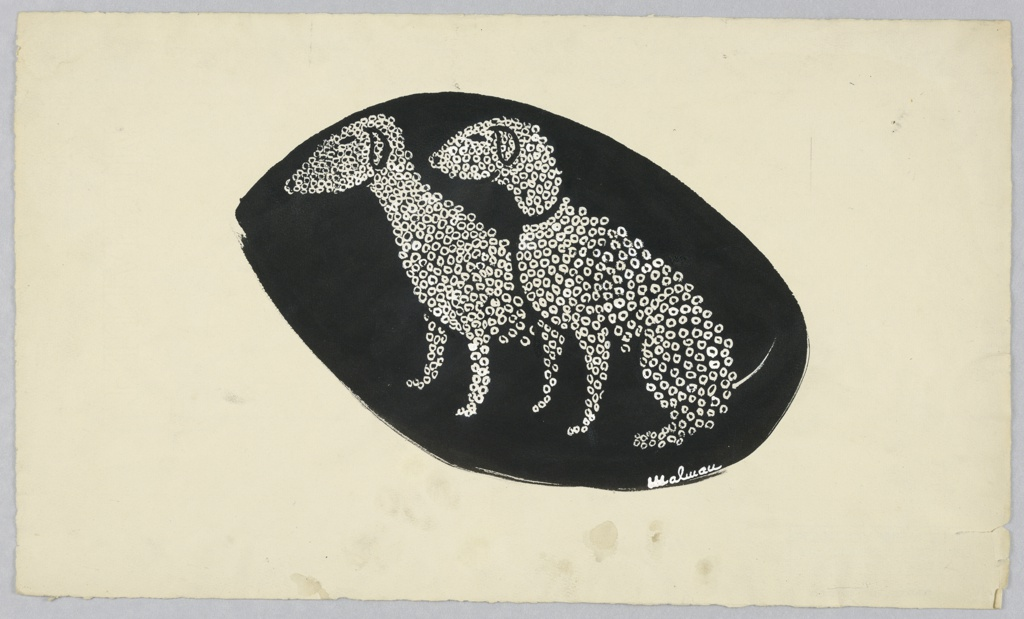 Two dogs, Bedlington Terriers, made up of white circlets, facing left, on an oval black ground.