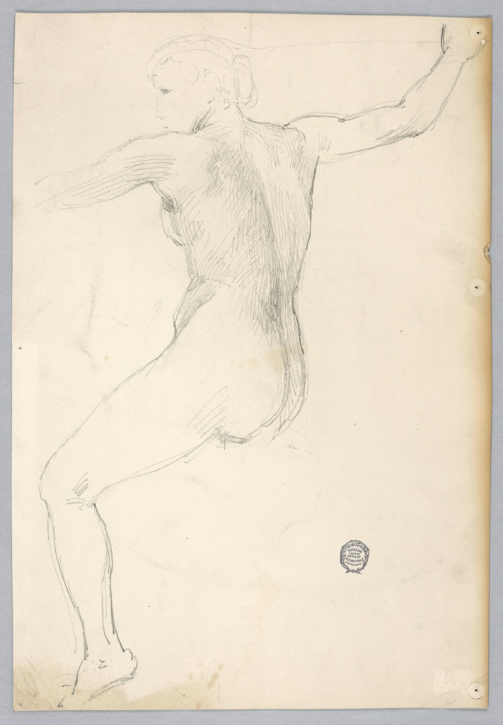Nude female figure shown from the rear seated without an indication of the right leg. The right arm is shown, raised, slightly bent at the elbow.