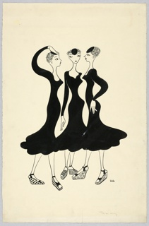 Three young women with short hair wearing black dresses, espadrille shoes, and small black hats face each other. Left-most figure has her arm raised above her head, toward her hat.