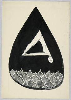 Woman forming equilateral triangle by touching her toes in a dive, head down, right. Water below; both white in a black droplet.