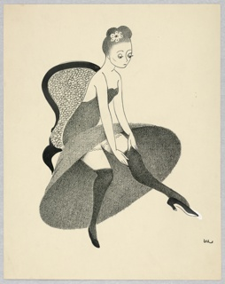 Woman in long gray flowered dress, sitting in a chair, turned to the right, adjusting one dark stocking.