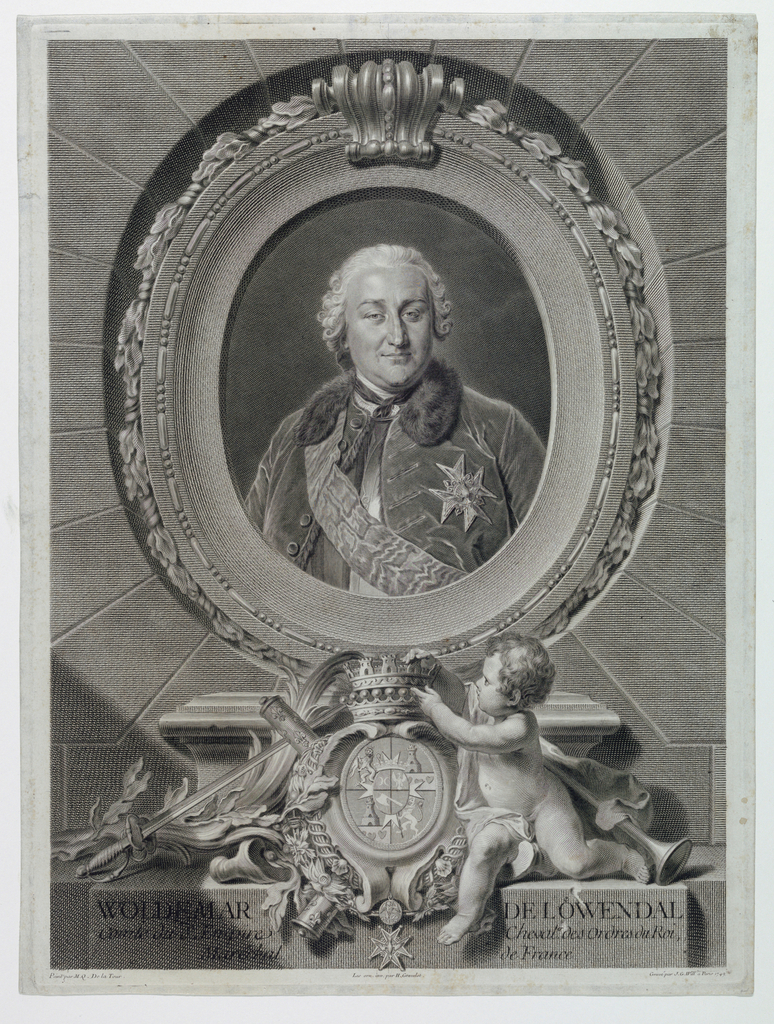"""Bust-length portrait of a man, facing the spectator. Enclosed in wide oval frame. Arms and title below. Signed and dated in margin, lower right: """"Gravé par J. G. Will á Paris 1749;"""" lower center """"Les orn. inv. par H. Gravelot."""""""