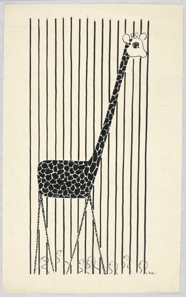 A giraffe foreground, its head to the right, bars behind, with people beyond and below looking up.