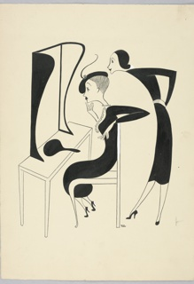 Vertical rectangle. Woman sitting in chair, center, with cigarette, looking into mirror, left. Saleswoman looks over her shoulder, right. Both in black dresses.