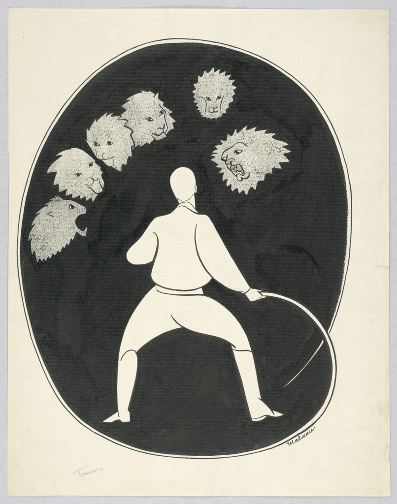 Lion tamer, white, center, his whip making an oval around him, filled in with black. Six lions' heads, gray, upper left and center.