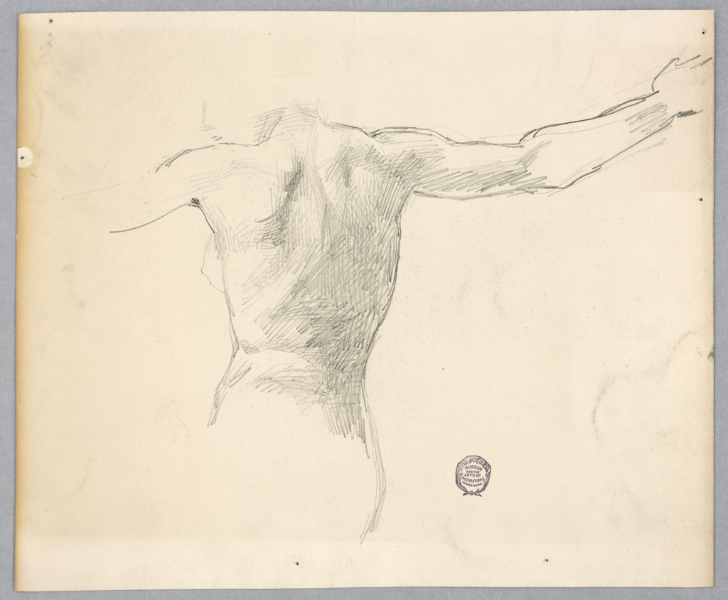 Sketch of a nude figure's torso and arms from behind.