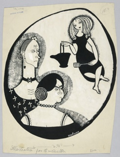 Vertical rectangle. Full figure of young girl, upper right, holding a cinder bucket and shovel. Busts of two older, ugly women, left. All in an oval.