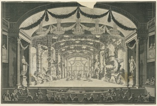 Horizontal format. Groups of spectators watch a theatrical performance showing a representation of Inferno, with fire and demons. Actors fill the decorated stage; additional spctators in opera boxes at left and right sides. Five large chandeliers hanging from the theater ceiling, which is draped with festoons. Stage design engraved separately.