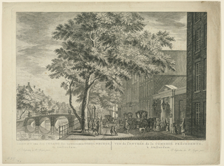 "Horizontal rectangle. The gateway leading to the theatre is at right in a row of houses facing a canal. People are coming in carriages and by walking. Below at left: ""J de Beyer, ad viv; del""; at right: ""S. Fokke fecit."" Caption: GEZICHT von den INGANG des GEWEEZENEN SCHOUBURGS / te Amsterdam. VUE de l'ENTREE de la COMEDIE PRECEDENTE / a Amsterdam"". Above the upper right corner is the number: 30."