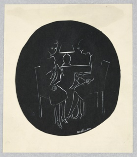 Vertical oval. The women partially outlined in white, sitting in chairs and in front of the table and lamp, facing center.