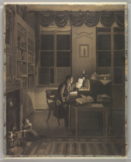 Drawing, Interior with a Man Reading at His Desk