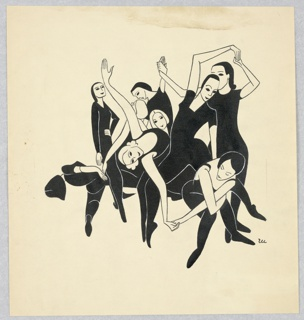 Dancers rehearsing or exercising in black tights, in a group.