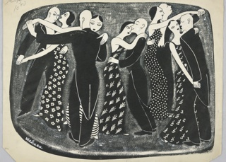 Horizontal rectangle. Five couples in formal dress dance. Gray ground.