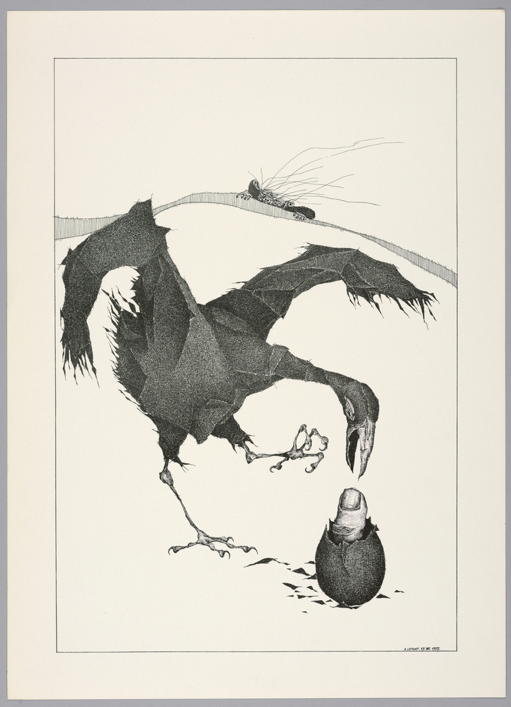 Plate 19, VIII of the book, Très Admirable Bestiaire Fantastique (Very Admirable Fantastic Bestiary). Black bird at center with long beak, its body treated with a collage-like texture. With wings outstretched and its left foot raised, it looks down at a hatching egg below, from which is emerging a human thumb. Fragments of the eggshell surround the hatching egg. Landscape indicated by a curving shaded line in the background. The face and hands of a grotesque human figure peers over the horizon line at right. Composition contained within a black rectangular frame.