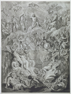Christ, with God the Father and the Dove of the Spirit are enthroned on clouds, while the Saints and Apostles are ranged at either side. Below, angels with trumpets and the elect and damned.