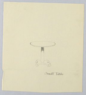 Drawing, Design for Small Round Table with Four Columns on Pediment Base, 1900–05