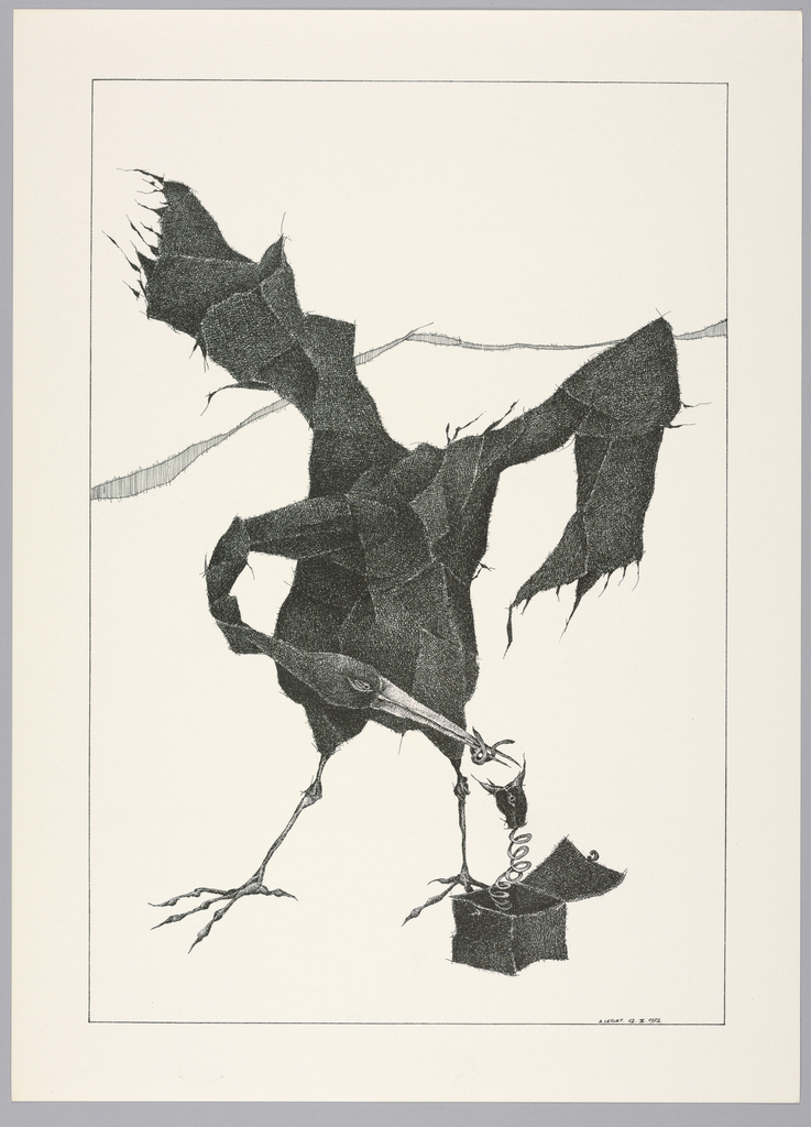Plate 12, X of the book, Très Admirable Bestiaire Fantastique (Very Admirable Fantastic Bestiary). Large black crow-like bird at center, frontal view, its wings raised behind it and its head lowered, its beak clutching wriggling worms that it offers to a baby bird below.  The baby bird receives the worms with an open beak; the bird's head is attached to the spring component of an open jack-in-the-box. Landscape indicated by a curving shaded line in the background. Composition contained within a black rectangular frame.