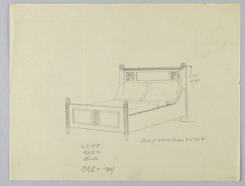 Drawing, Design for Bed of Spanish Cedar