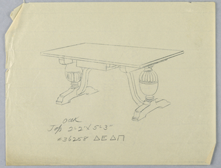 """Drawing, Design for Large Rectangular Oak Table with """"S""""-Curved Supports, 1900–05"""