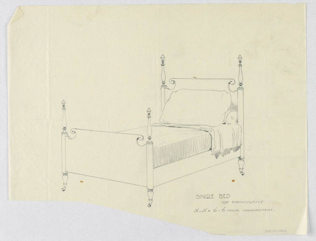 Drawing, Design for Single Bed of Mahogany with Four Turned Posts and Finials