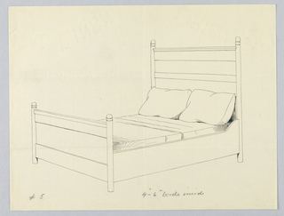 """Drawing, Design for Bed """"A"""" with Four-part Headboard and Ball Finials"""