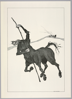 Plate 11, IX of the book, Très Admirable Bestiaire Fantastique (Very Admirable Fantastic Bestiary). Figure of a grostesque centaur in surrealist style. The head and arms of a distorted male figure with the body of a horse, a long knobbly wooden staff held in his two hands. Rather than hooves, the centaur's feet end in caster wheels. The figure's front right leg is bent backward while the upper body moves forward, suggesting forward motion. Landscape indicated by a curving shaded line in the background. The face of a grotesque human figure peers over the horizon. Composition contained within a black rectangular frame.